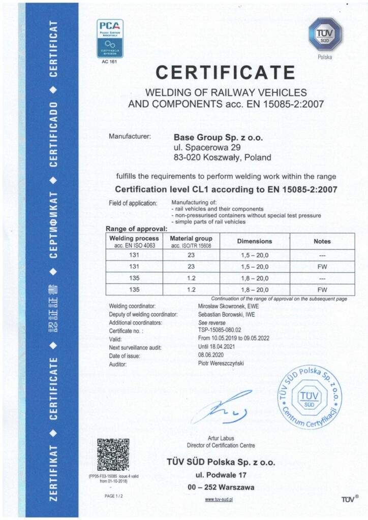 Manufacturing of machinery nad construction with the quality norms